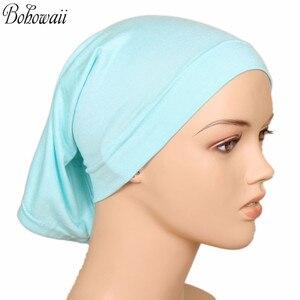 Image 2 - BOHOWAII イスラム教徒イスラムボンネットヒジャーブキャップ 20 色高品質 Hidjab 女性スカーフの下カジュアル Turbante