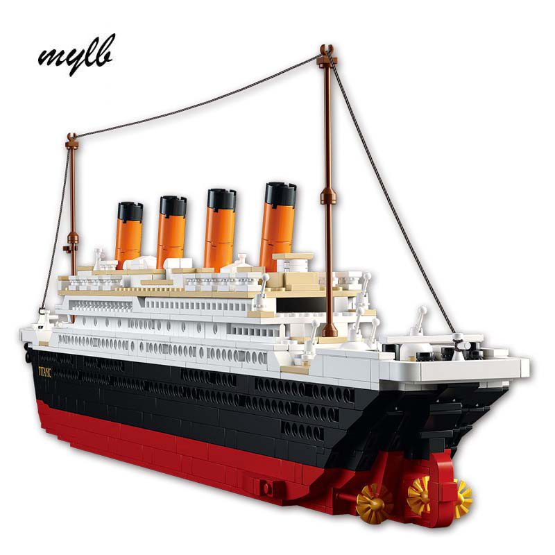 mylb Model building kits compatible with  city Titanic RMS ship 3D blocks Educational model building toys hobbies for kids 8 in 1 military ship building blocks toys for boys