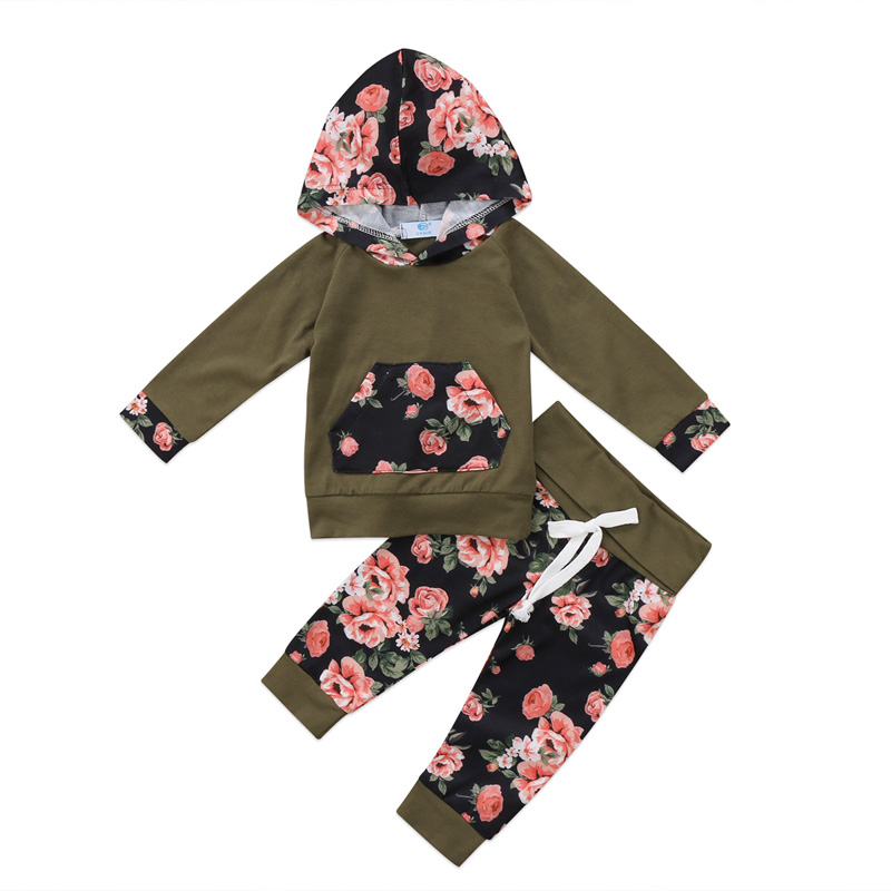 New Casual 2pcs Newborn Baby Girls Clothes Set Cotton Hooded Sweatshirt Tops+Pants Outfits Floral Clothes Set