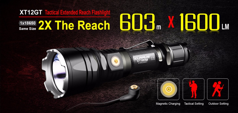 Flashlight KLARUS XT12GT CREE XHP35 HI D4 LED Black max 1600LM throw 603 meters Magnetic-Charging torch with 3600mAh battery new klarus xt11gt cree xhp35 hi d4 led 2000 lm 4 mode tactical led flashlight free usb port and 18650 battey for self defence