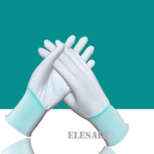 1 Pair Safety Gloves PU Palm Coated Working Gloves Anti-Static White Nylon Polyester Gloves Workplace Safety Wholesale