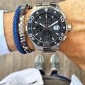 2016 Hombres Azul Pulsera De Cuero Con Plata Imán PU Python Python Raya Marca de Relojes Correa de Cuero Genuina Pulseras de Las Mujeres
