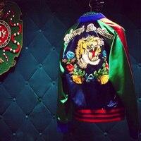 Women Bomber Jacket Coat Reversible Baseball Jackets Sukajan Vintage Tiger Head Embroidered Winter Pilots Outerwear