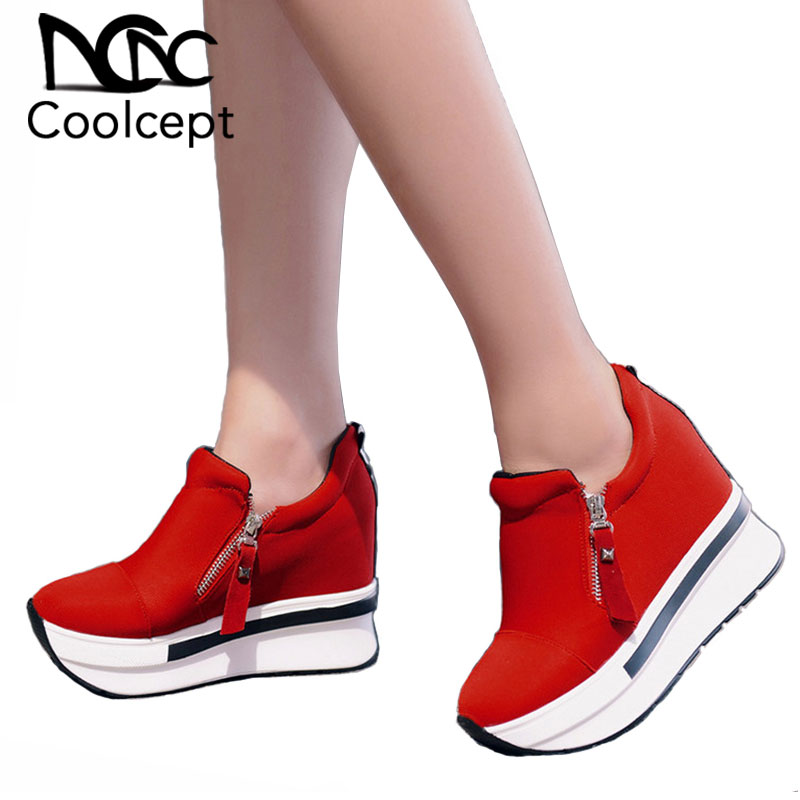Coolcept Women Spring Shoes Women Fashion Platform Pumps Zip High Heel Sneakers Shallow Casual Women Shoes Size 35-40