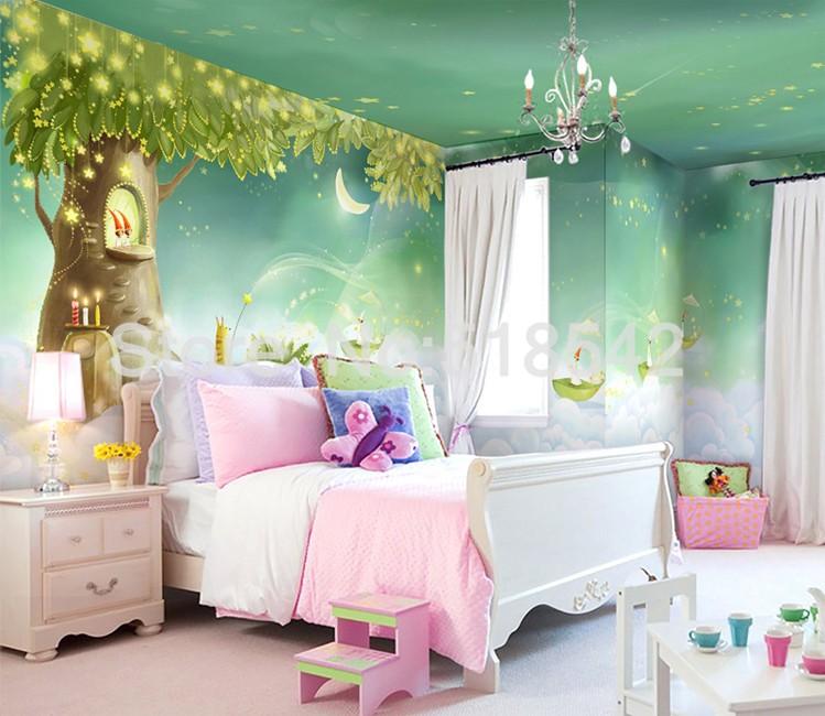 HTB1E9PLKpXXXXa_XVXXq6xXFXXXB Custom Photo Wallpaper 3D Dream Cartoon Children Room Living Room Bedroom Home Decoration Wall Art Mural Wallpaper For Walls 3 D