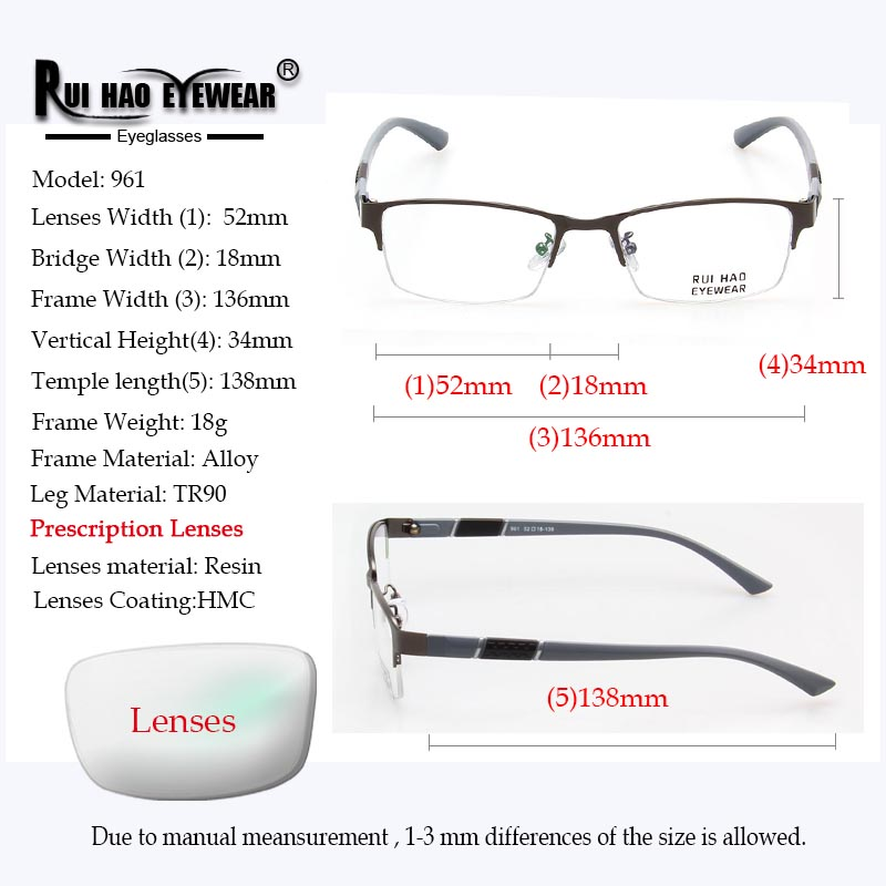 Image 3 - Prescription Eyeglasses Men Glasses Frame Rectangle Design Optical Glasses Myopia Progressive Resin Lenses Spectacles 961-in Men's Prescription Glasses from Apparel Accessories