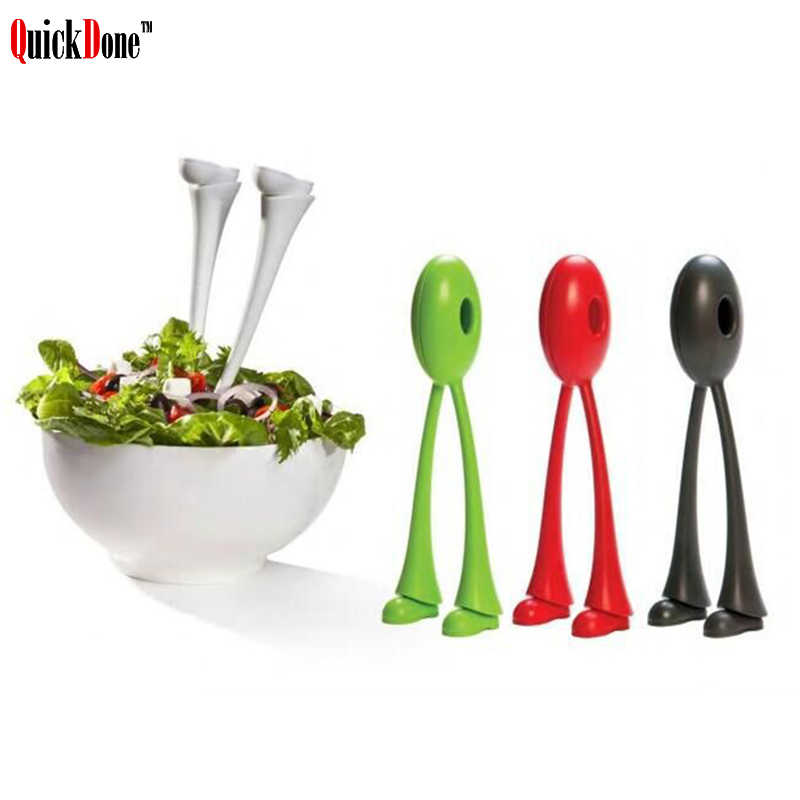 QuickDone 2pcs/lot Long-legged Salad Spoons Stander Soup Kitchen Gadget Scoop Vegetable Fruit Cooking Tools AKC5286