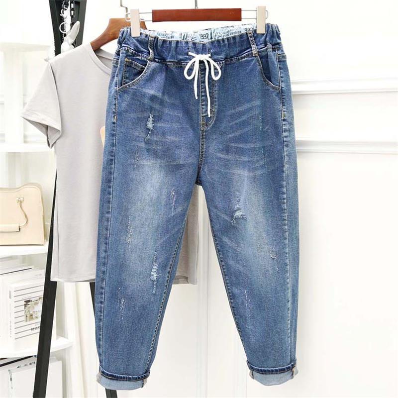 5XL High Waist Denim Jeans Women Loose Harem Pants Vintage Boyfriend Jeans For Women Streetwear Plus Size Mom Jeans Femme Q1446