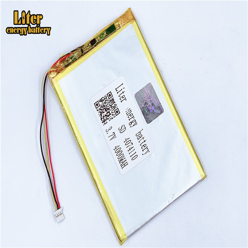 plug 1.0-4P 4074110 4075110 <font><b>3.7V</b></font> <font><b>4000mah</b></font> Tablet PC lipo <font><b>battery</b></font> in rechargeable <font><b>Batteries</b></font> with full capacity image