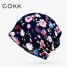 COKK – bonnet Turban en coton pour femme, imprimé floral, queue de cheval, masque fin, nouvelle collection automne été 2020