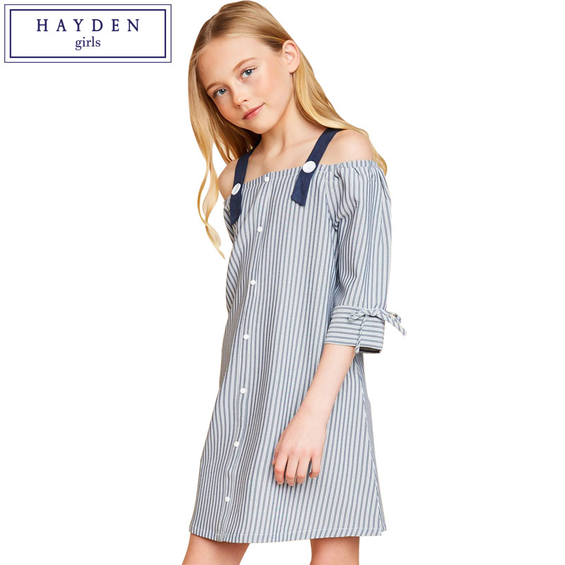 HAYDEN Girls Vertical Striped Dresses Kids Cold Shoulder Dress 7 8 9 10 11 12 13 14 Years Teenagers Dresses Brand Girl Clothes hayden girls boho ethnic dress designs teenage girls national embroidered dresses flare sleeve loose fit dress for 7 to 14 years