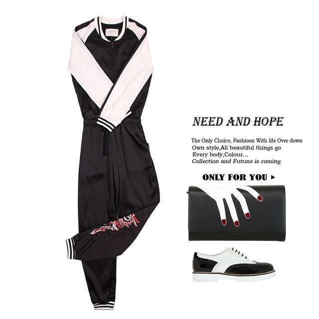 [XITAO] Случайный стиль нового прибытия полная длина свободной форме вышивка характер стенд воротник полный рукав женские комбинезон OFB-087