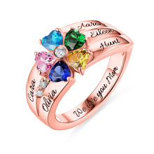 AILIN Engraving Birthstone&Name Rings For Women Rose Gold Color In Silver For Her 5 Heart Birthstones Ring Size 5-12 For Mother