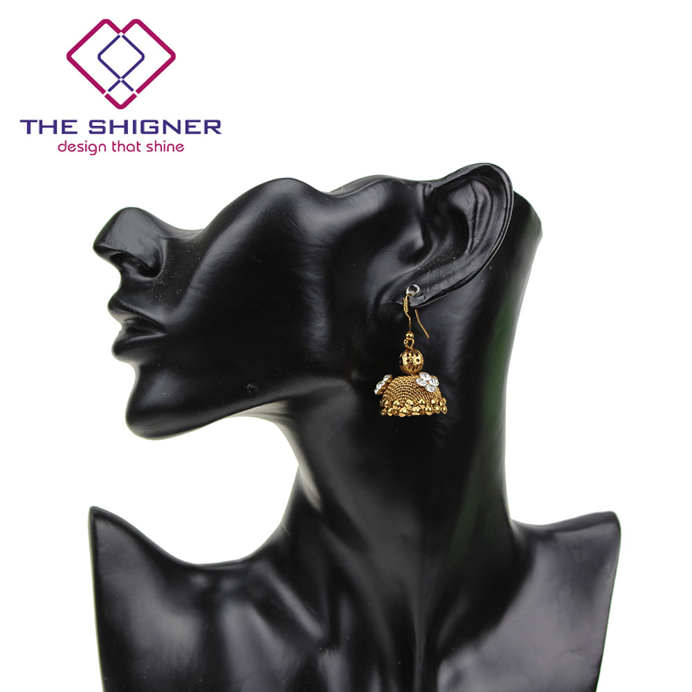 9eb505739 THE SHIGNER Indian Traditional Look Bronze Jhumka Jhumki Stone Earrings  Dangle Earring Ethnic light weight Jewelry for Women-in Drop Earrings from  Jewelry ...