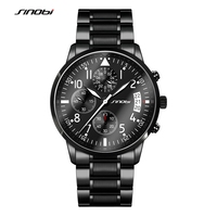SINOBI Full Steel Men S Diver Wrist Watches 10Bar Waterproof Watchband Top Luxury Brand Male Sports