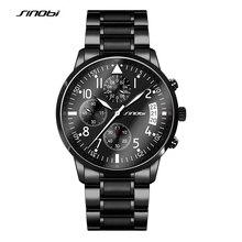 SINOBI Sport Hommes de Chronographe Pilotes Poignet Montres En Acier Noir Bracelet Top Marque De Luxe Hommes Horloge À Quartz Homme Montre-Bracelet
