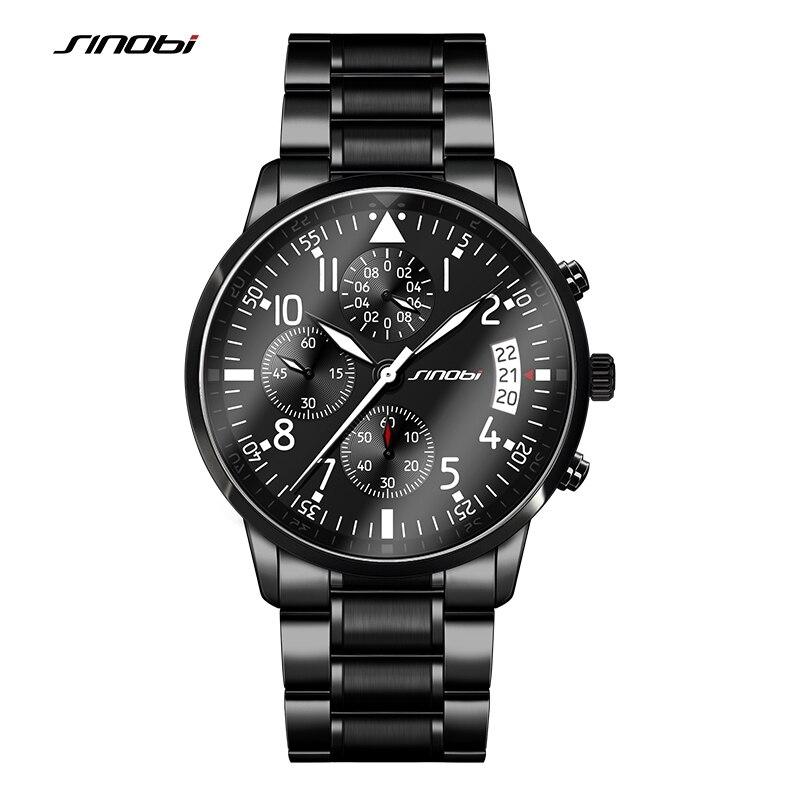 Prix pour Sinobi sport hommes de chronographe pilotes poignet montres en acier noir bracelet top marque de luxe hommes horloge à quartz homme montre-bracelet