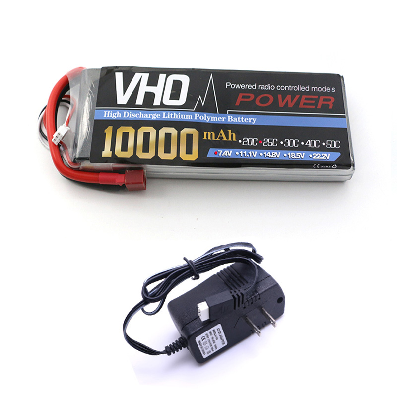 VHO 2S Lipo Battery 7.4V 10000mah 25C and UL charger For S800 S900 S1000 Helicopter RC Model Quadcopter Airplane Drone new 7 4 11 v 2s 3s lipo battery balance charger for rc helicopter quadcopter