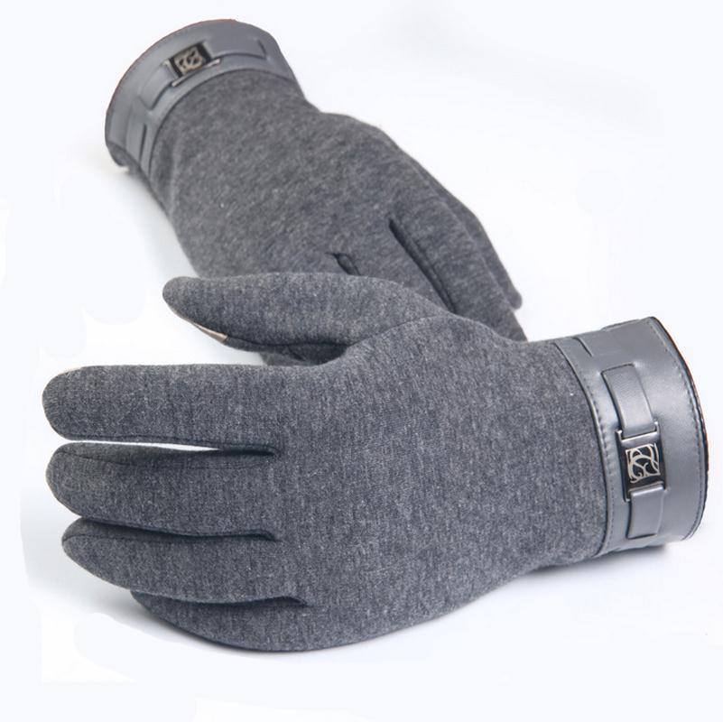 YGYEEG Gloves Men Touched Screen Warm Winter Male Knitting Patchwork Glove For Autumn Mittens Warmth Black Grey High Quality