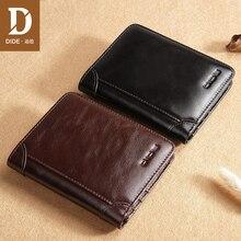 Купить с кэшбэком DIDE Brand Fashion Men Short Wallet Genuine Leather Male Wallet Black Purse Small Thin Card Holders Women Wallets For Men