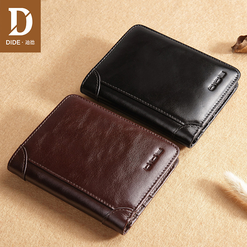 DIDE Classic Style Wallet Genuine Leather Men Wallets Short Male Purse Card Holder Wallet Men Fashion High Quality Small Slim