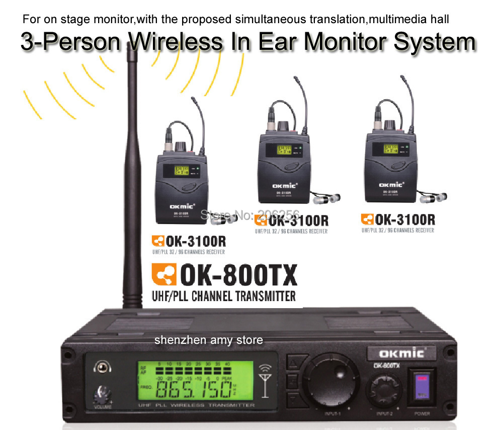 3 receivers assistive listening system uhf 3 person wireless in ear monitor system stereo. Black Bedroom Furniture Sets. Home Design Ideas