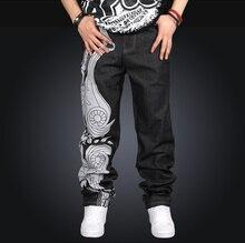 Men Hip Hop Jeans Skateboard Men Baggy Jeans Street Style Denim Hiphop Pants Loose Jeans Rap 4 Seasons Trousers Big Size 30-44