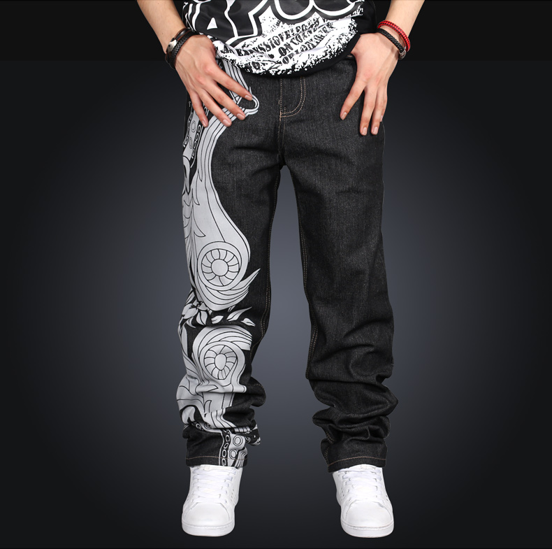Men Hip Hop Jeans Skateboard Men Baggy Jeans Street Style Denim Hiphop Pants Loose Jeans Rap 4 Seasons Trousers Big Size 30-44 euramerican style baggy hip hop men jeans widened increase skateboard pants comfortable mid waist casual mens streetwear jeans