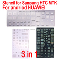 free shipping 3pcs universal BGA Stencils for Samsung HTC Huawei Android MTK Directly Heated BGA Reballing Stencils Kit