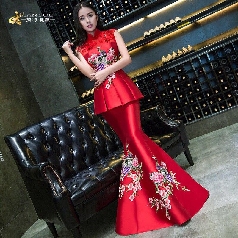 Evening Gown Wedding: Red Mermaid Oriental Evening Dresses Bride Cheongsam Long