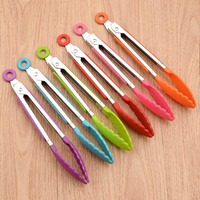 Food Grade Silicone food tong Kitchen Tongs utensil Cooking Tong clip Clamp accessories Salad Serving BBQ tools|Tongs| |  -