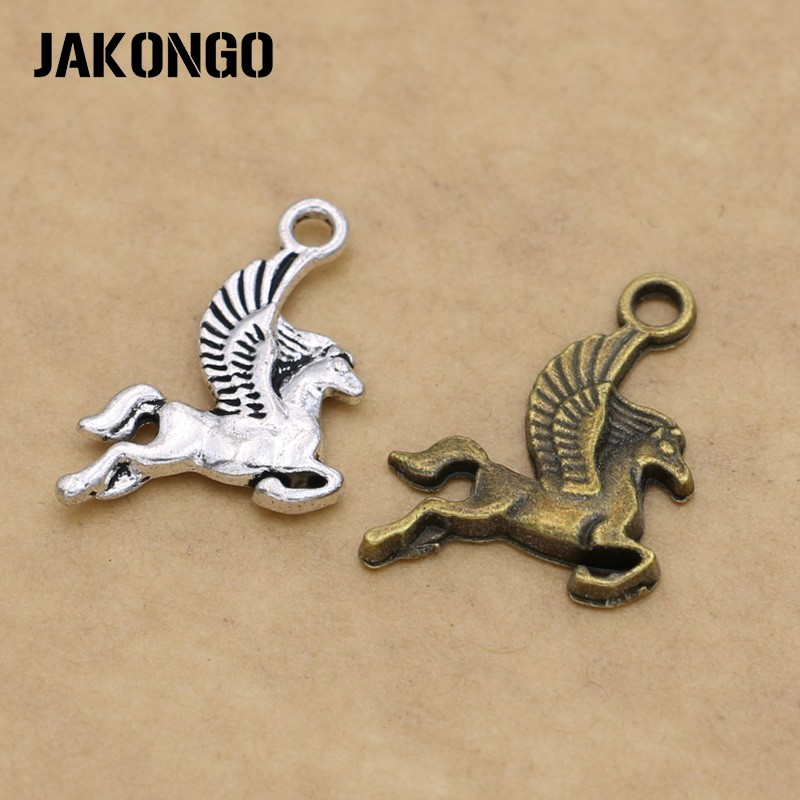 JAKONGO Antique Silver Plated Horse Charm Pendant for Making Bracelets Findings Jewelry Accessories Craft DIY 20x15mm