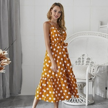 Summer Print Polka Dot Dress Women Spaghetti Strap V-Neck Dress Off Shoulder Sleeveless Bohemian Mid Dress Beach Dress women 2019 summer polka dot vintage dress sexy deep v neck sleeveless party sundress elegant casual belt beach dress plus size