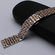 De alta calidad de la nueva llegada 14mm 16mm 18mm 20mm 22mm pulsera de acero inoxidable de plata y rosa correa con hebilla de mariposa de oro