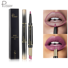 Купить с кэшбэком Pudaier 1PC 16Colors Double Head Fashion Lipstick Pencil Waterproof Makeup Tool Half Matte Lip Stick Velvet Liquid Lipsticks