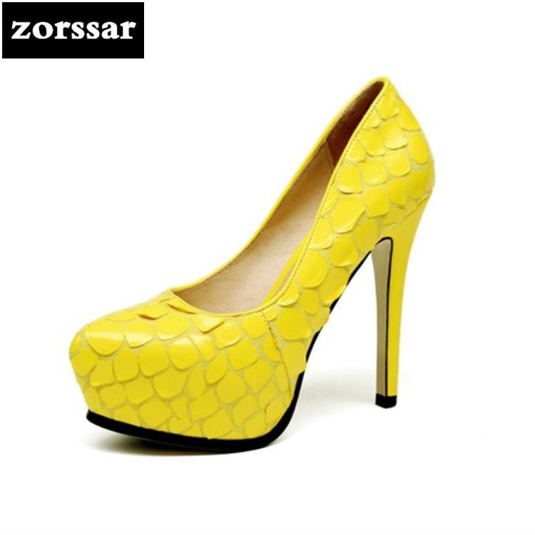 Nouveau Mode 2018 Cuir Chaussures Printemps Plate De Femmes Bout Mince Noir Pompes jaune Pointu {zorssar} Mariage Véritable Talons forme FwEYqYd