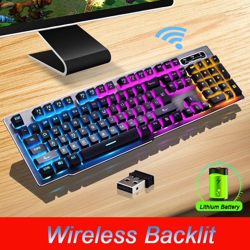 MK500 Wireless Keyboard Rechargeable Backlight Gaming Charging Backlight Wireless Keyboard Alloy Panel Suitable For Desktop