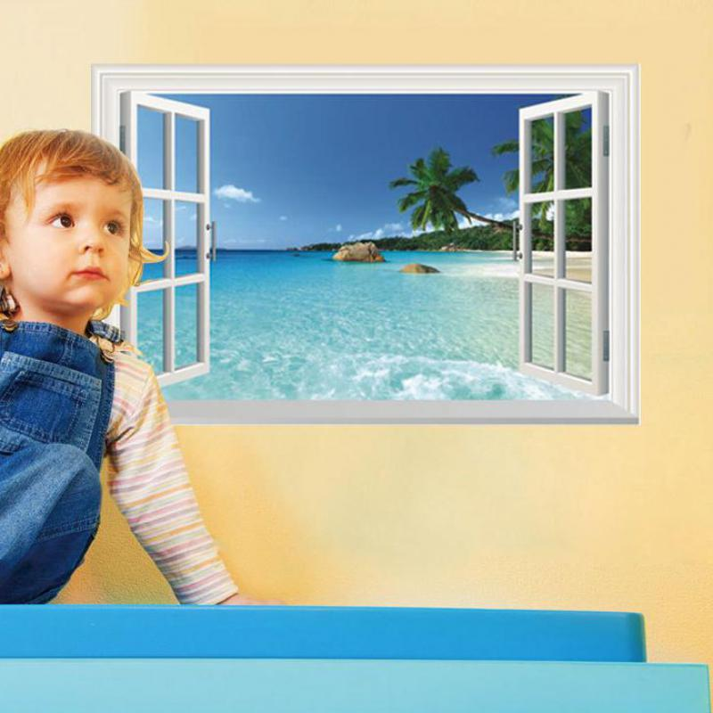 1pcs 3D Scenery Wall Stickers Window Wall Decorations Living Room ...
