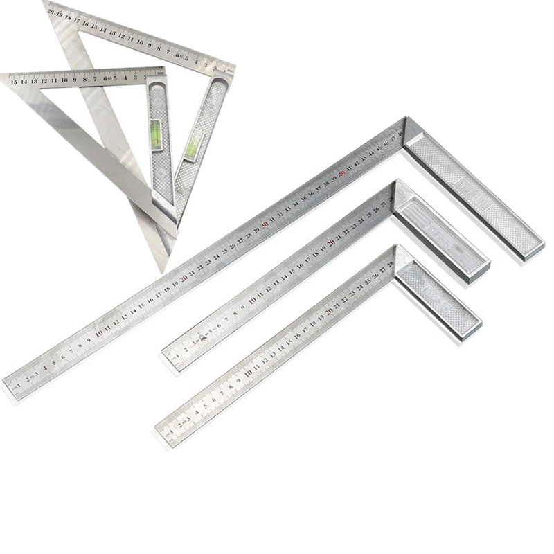 Stainless Steel Right Angle Ruler 90 Degree Square Tools With Bubble Level Measuring Instrument For Woodworking And Drawing