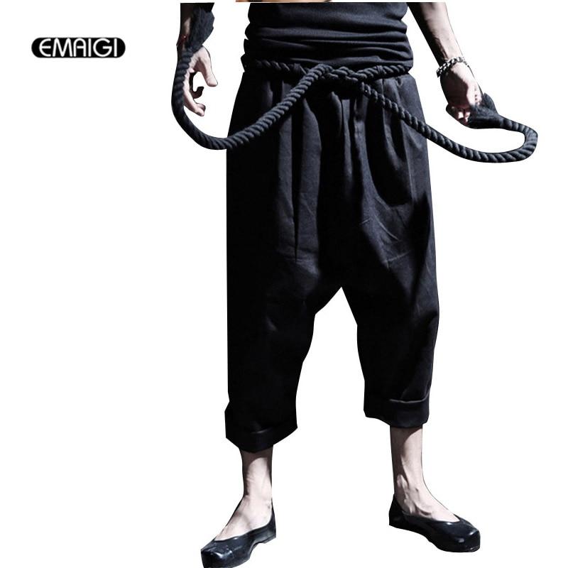 Men Fashion Punk Big Rock Crotch Pants Male Ankle Length Trousers Vintage Culottes Bloomers Linen Harem Pant Stage Costumes K28
