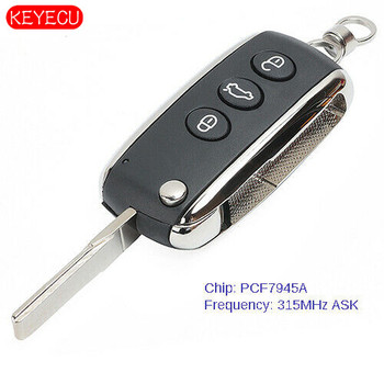 Keyecu Smart 3B Remote Key Fob 3 Button ASK 315MHz ID46 for Bentley C*ontinental GT GTC Flying Spur