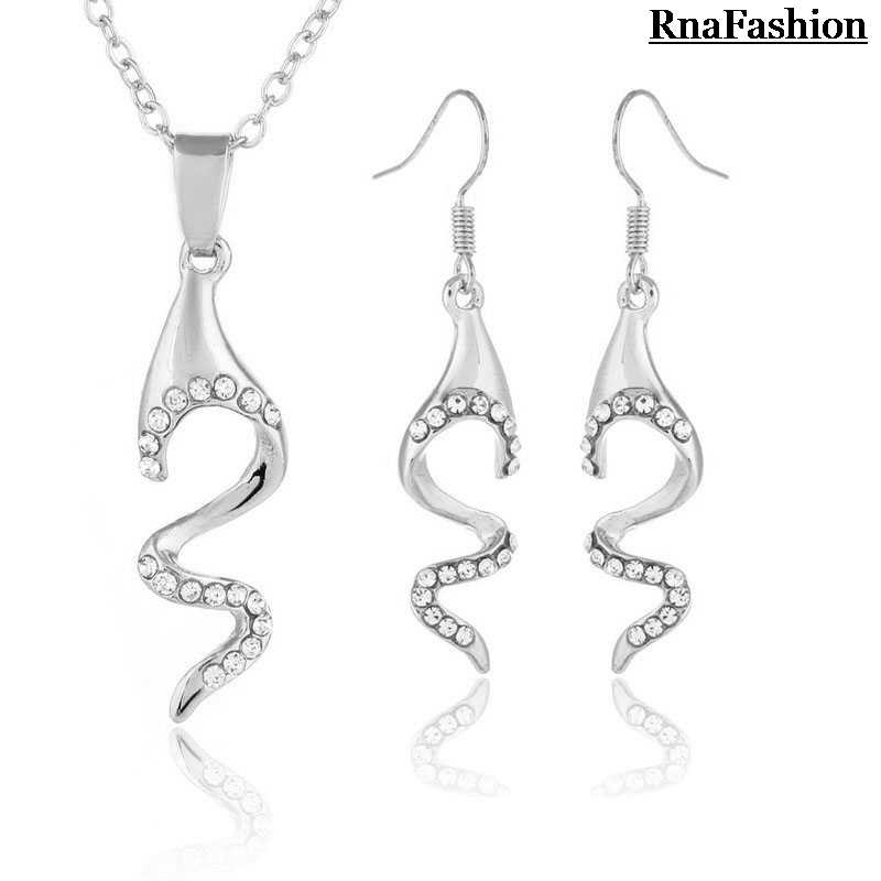 RNAFASHION Sets Vintage Necklace Pendant and Dangle Earrings Jewellery Para As Mulheres Casamento Brinco Women