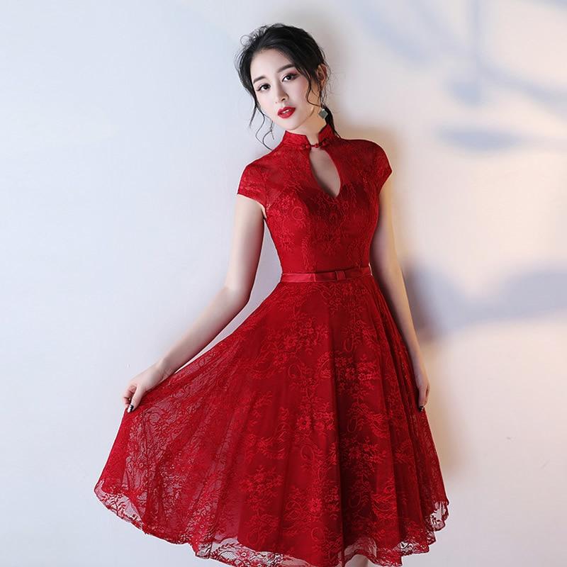 2018 Modern Cheongsam Sexy Qipao Red Evening Dresses Traditional Chinese Dress Vestido De Noche China Clothing Store