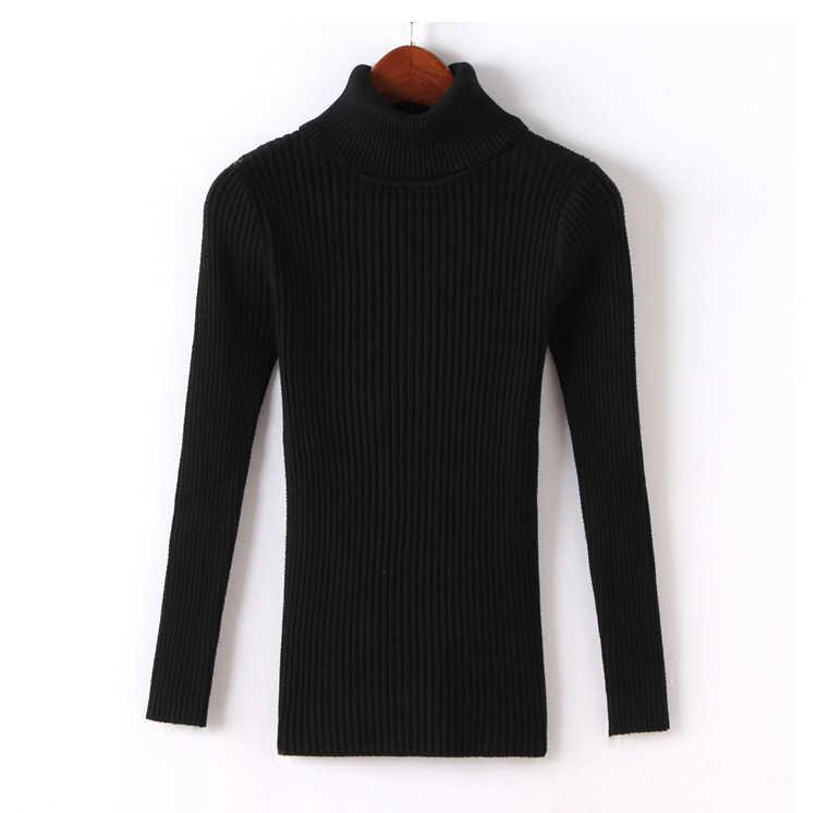 겨울 새로운 여성 세로 스트라이프 두꺼운 따뜻한 터틀넥 스웨터 여성 니트 긴 소매 풀오버 당겨 femme 트리코 저지