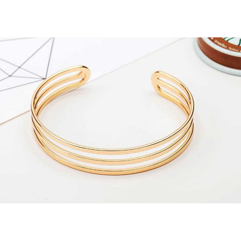 Hot Sale Gold Color Three Circle Adjustable Cuff Bracelets For Women Bijoux Classic New Fashion Jewelry Wholesale Gift