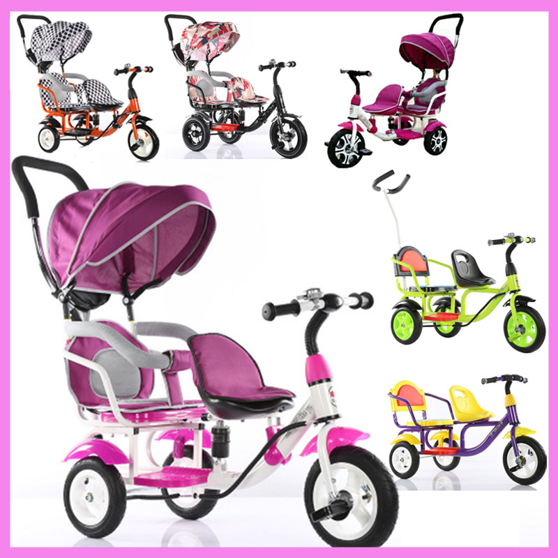 Children Tricycle Bike Double Tricycle Bicycle Twins Baby Stroller Three 3 Wheels Kids Double Bike Umbrella Pram Buggy Pushchair twins stroller double stroller super twins stroller carrier pram buggy leader handcart ems shipping