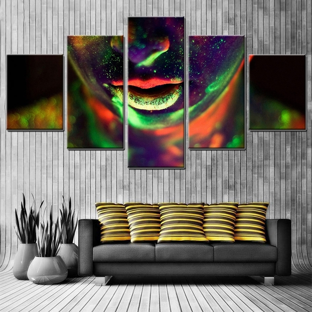 Body Painting Colorful Girl Oil Canvas Pictures For Living Room Art Wall Phosphor Pretty