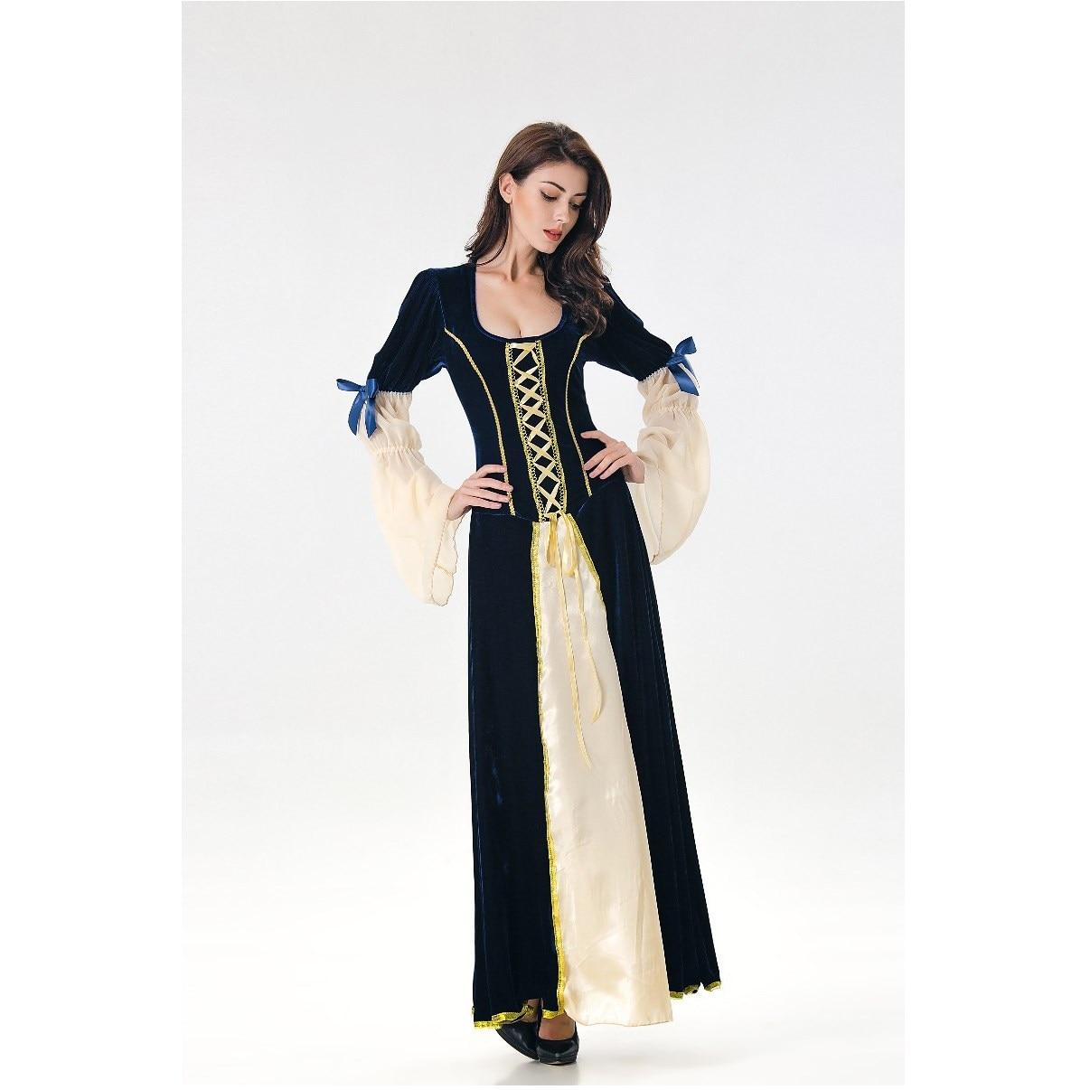 Medievale Nero Costumi Vestito Masquerade Cosplay Donne Blu Fantasia Maxi  Vittoriana Del Vintage xBnwY f514cb799e9