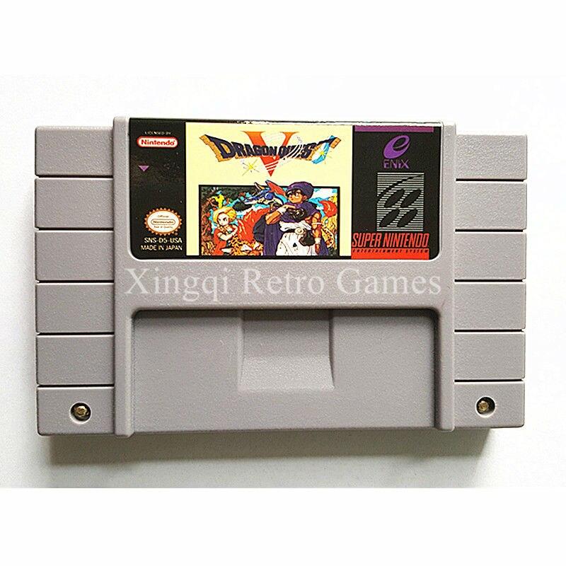 Super Nintendo SFC SNES Dragon Quest V Video Game Cartridge Console Card English Language NTSC US