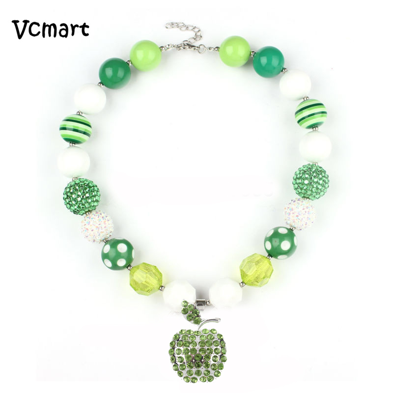 Vcmart Saint Patrick Day Chunky Bubblegum Necklace 2017 Newest 2Pcs Green White Beaded Rhinestone Apple Pendant Kids Necklace ...